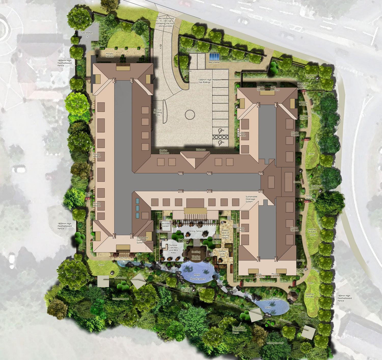 Situace zahrady pro dům s pečovatelskou službou Coombe Hill Manor.